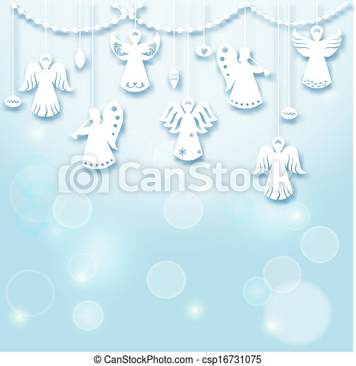 Angels Christmas Background.Christmas Background Angels Paper Cut Style In Vector