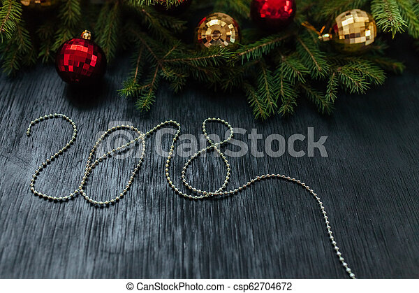 Christmas background. Background to insert text. The new year 2018 - csp62704672