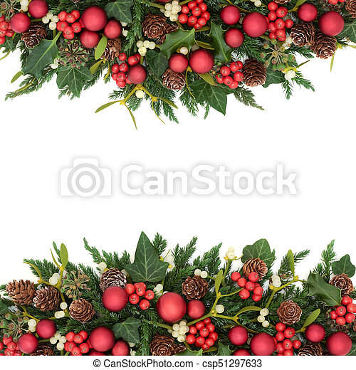 7a7cd8dc410d Christmas Background Border With Red Bauble Decorations, Holly, Ivy,  Mistletoe, Fir And Pine Cones