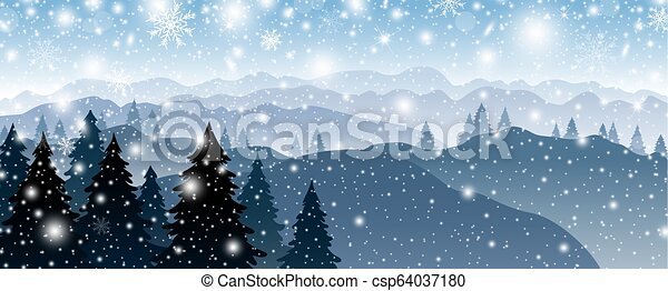 Christmas background design of pine tree and mountain with snow falling in winter vector illustration - csp64037180