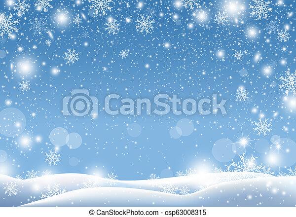 Christmas background design of snow falling winter season vector illustration - csp63008315