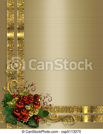 Christmas background gold ribbons - csp5113070