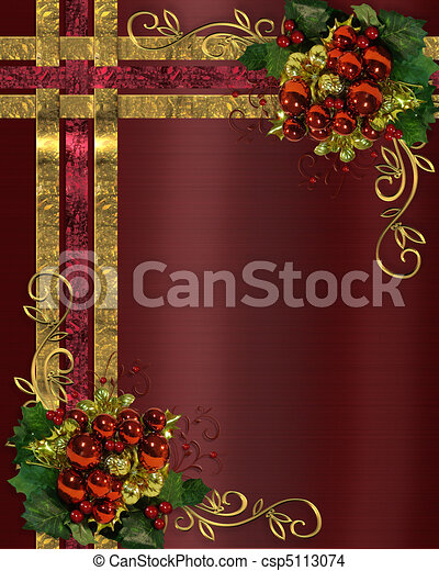 Christmas background gold ribbons - csp5113074