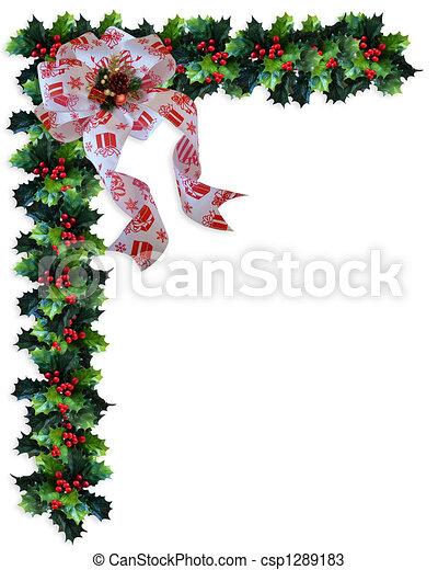 Christmas Background Holly Border - csp1289183