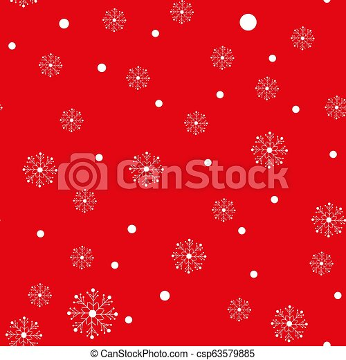 Christmas background of big and small snowflakes, white on red - csp63579885