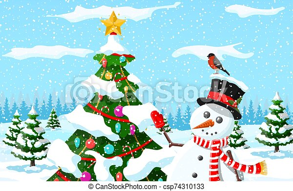 Christmas background. Snowman with fir tree. - csp74310133