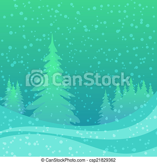 Christmas background, winter forest - csp21829362