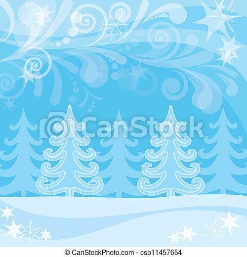 Christmas background, winter forest - csp11457654