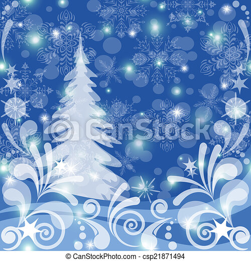 Christmas background, winter forest - csp21871494