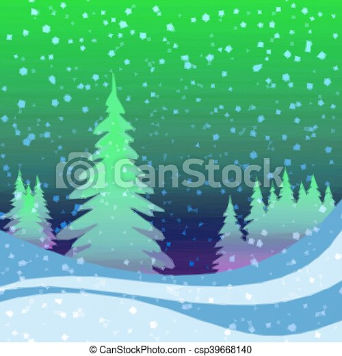 Christmas Background, Winter Forest - csp39668140