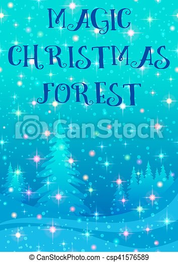 Christmas Background, Winter Forest - csp41576589