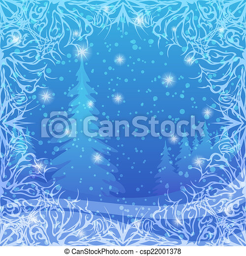 Christmas background, winter forest - csp22001378