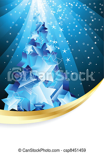 Christmas background with abstract evening tree - csp8451459