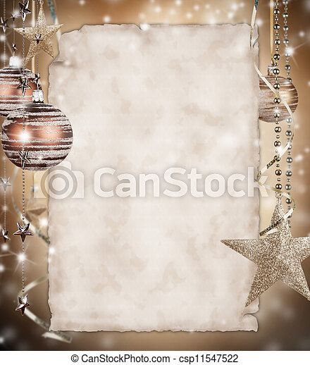 Christmas background with blank paper - csp11547522