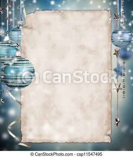 Christmas background with blank paper - csp11547495