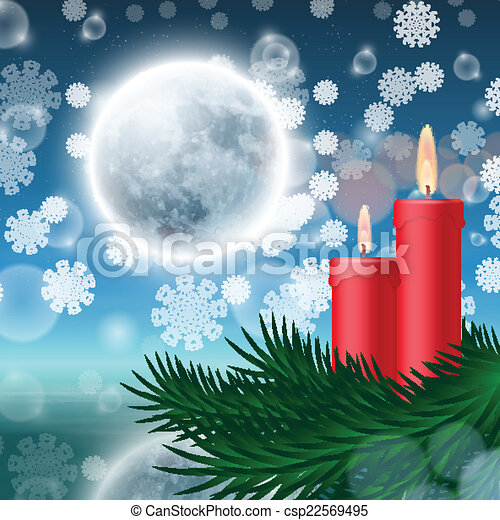 Christmas background with candles and fir tree - csp22569495