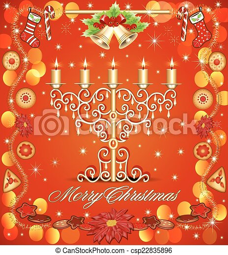 Christmas background with candles and gingerbread bells - csp22835896