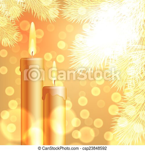 Christmas background with candles and fir tree - csp23848592