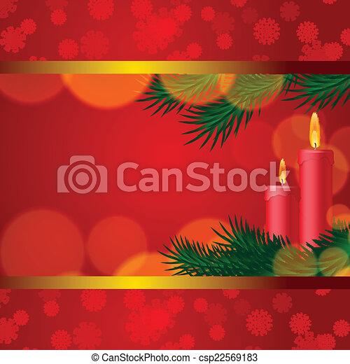 Christmas background with candles and fir tree - csp22569183