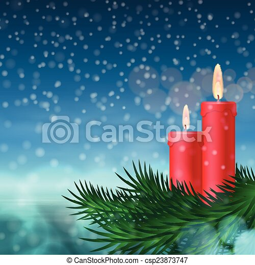 Christmas background with candles and fir tree - csp23873747
