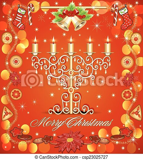 Christmas background with candles and gingerbread bells - csp23025727