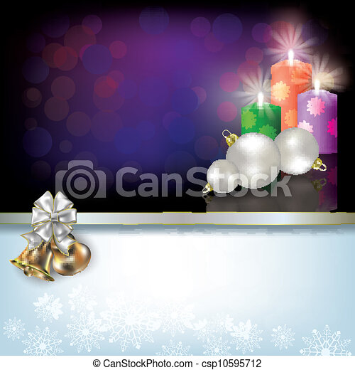 Christmas background with candles and decoration - csp10595712