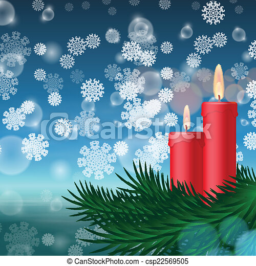 Christmas background with candles and fir tree - csp22569505