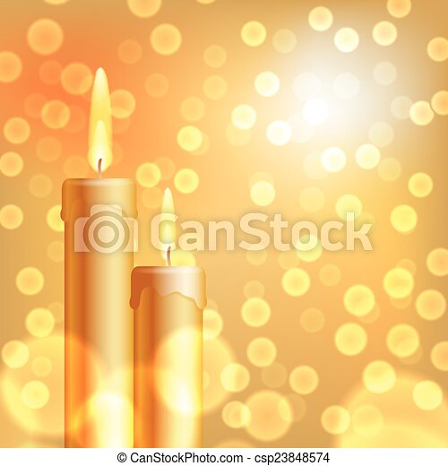 Christmas background with candles - csp23848574