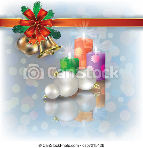 Christmas background with candles on white - csp7215428