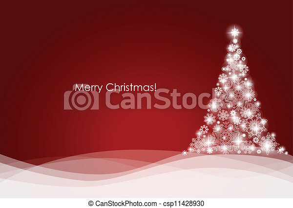Christmas background with Christmas tree, vector illustration. - csp11428930