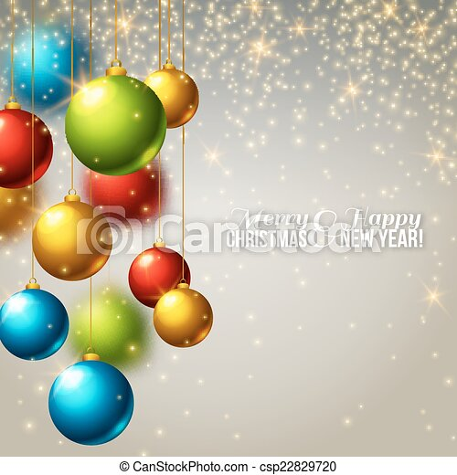 Colorful Christmas Background Design.Christmas Background With Colorful Balls