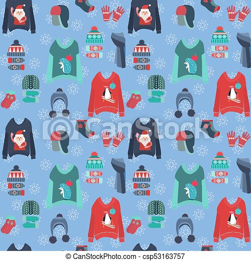 Christmas background with cute ugly sweaters 9f9e30c77cdc