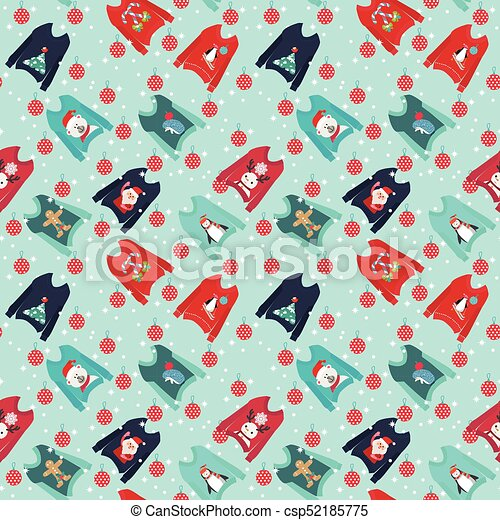 62da4bfc37 Christmas background with cute ugly christmas sweaters set sweater -  csp52185775