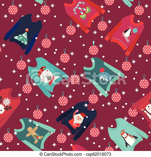 Christmas Sweater Background.Christmas Background With Cute Ugly Christmas Sweaters