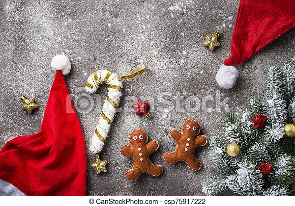 Christmas background with felt gingerbread man - csp75917222