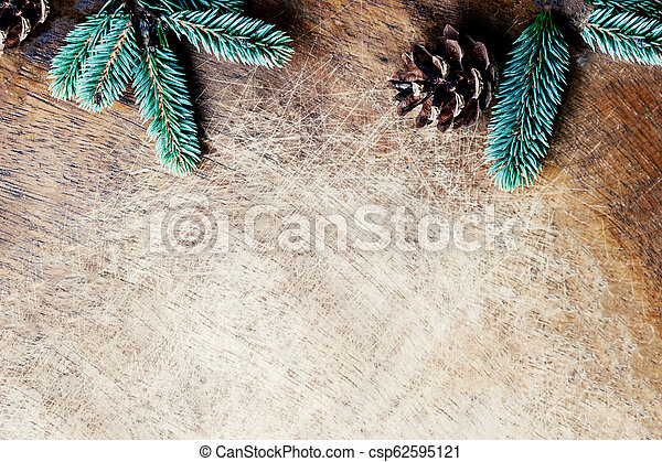 Christmas Background With Fir Tree Branches And Pine Cone On Rustic Wooden Board Space For Text Trendy Christmas Wallpaper Flat Lay Top View
