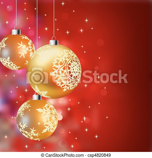 Christmas background with gold baubles - csp4820849