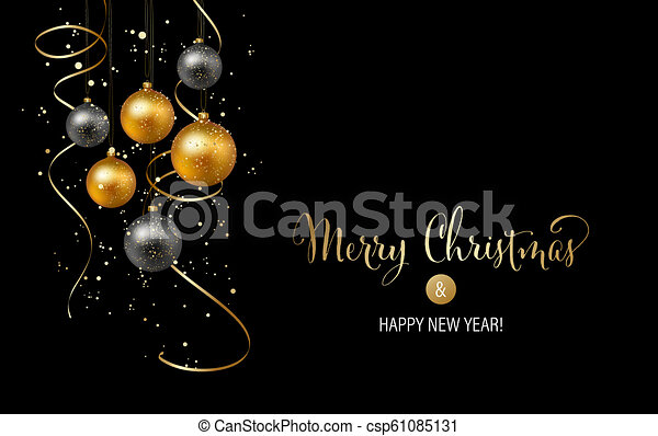 Elegant Christmas Background Images.Christmas Background With Gold Baubles And Serpentine