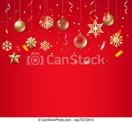 Christmas background with golden baubles on rope - csp75372814