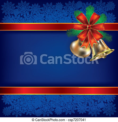 Christmas background with handbells and gift ribbons - csp7207041