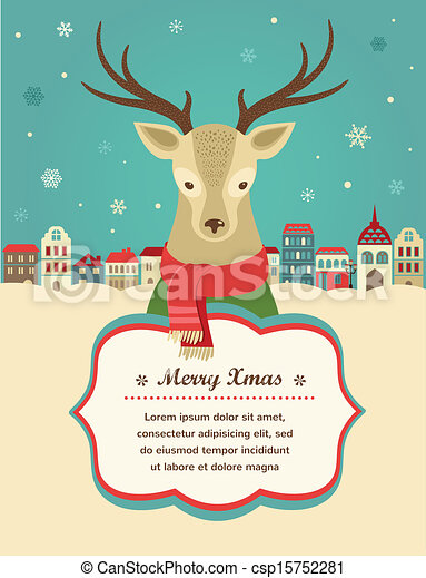 Christmas Background With Hipster Deer And Ribbon