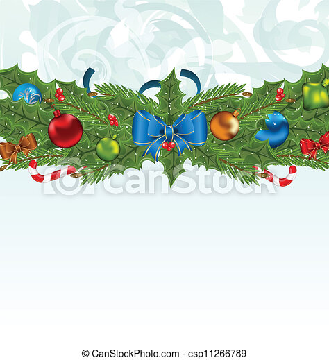 Christmas background with holiday decoration - csp11266789