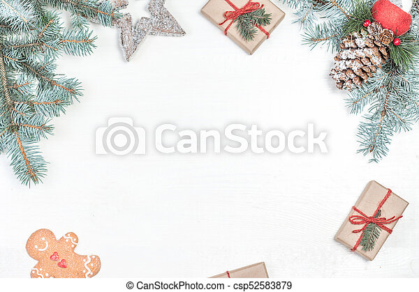 Holiday Christmas Background.Christmas Background With Holiday Decoration Elements Presents And Fir Tree Branches On White Wooden Background Christmas Flat Lay And Top View