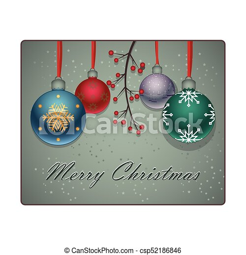 Christmas background with lovely colorful baubles and branch - csp52186846
