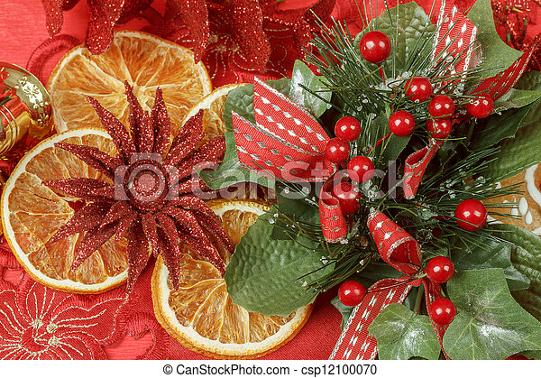 christmas background with needles. orange slices and gingerbreads - csp12100070