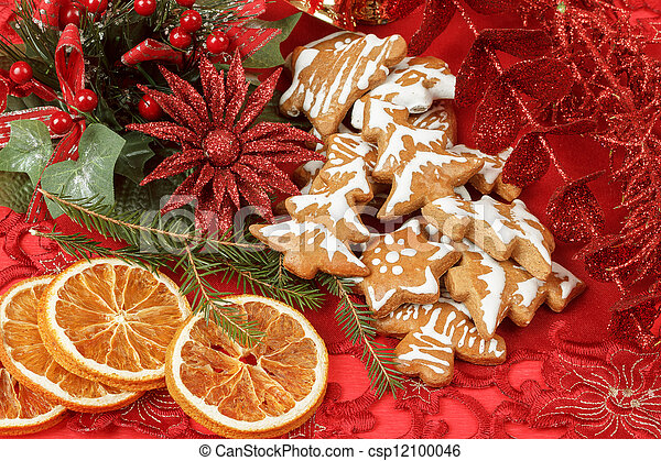 christmas background with needles. orange slices and gingerbreads - csp12100046