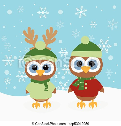 christmas background with owls - csp53012959