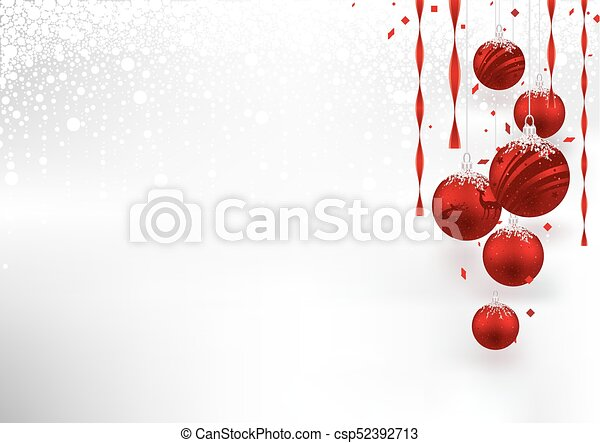 Christmas Background with Red Baubles - csp52392713
