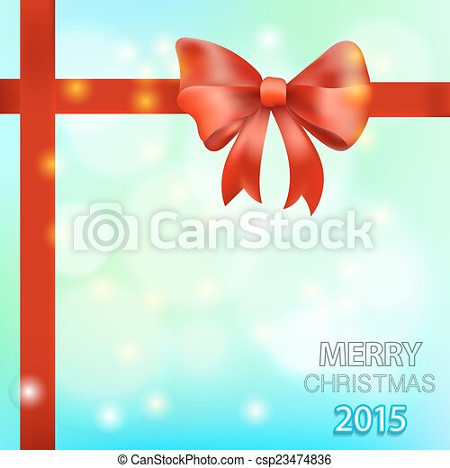 Christmas background with red bow. Vector illustration - csp23474836