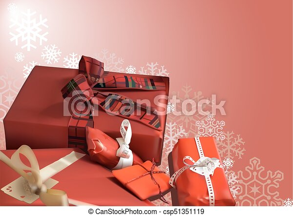 Christmas Background with Red Gifts - csp51351119